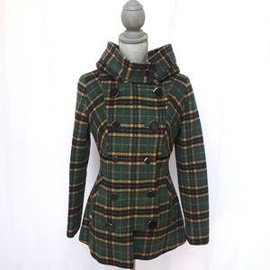 Soia & Kyo Wool Green Plaid Check Jacket